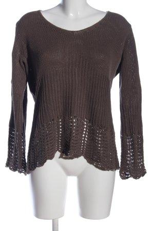 Stottrop Warkoczowy sweter brązowy W stylu casual