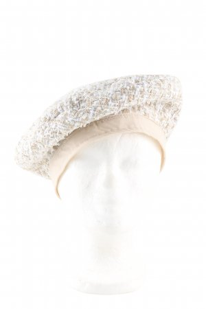 Stradivarius Beret natural white weave pattern casual look
