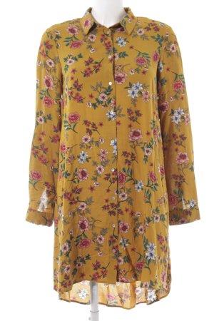 Stradivarius Blusenkleid Hemdkleid Kleid senffarbe ocker Blumenmuster