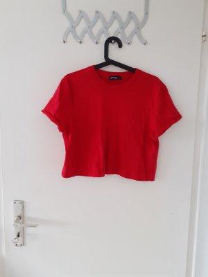 Stradivarius Cropped Shirt red