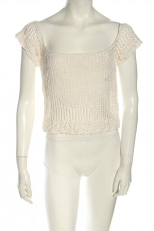 Stradivarius Crochet Shirt natural white casual look