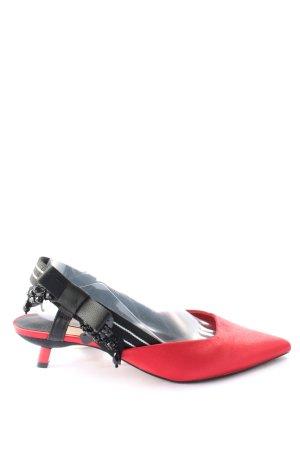 Stradivarius High Heel Sandaletten schwarz-rot Casual-Look