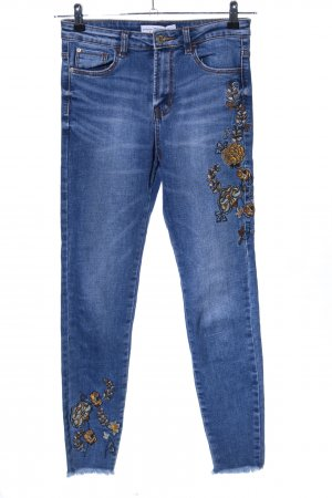 Stradivarius High Waist Jeans blau Blumenmuster Casual-Look