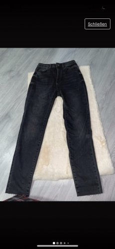 Stradivarius Jeans taille haute noir-gris