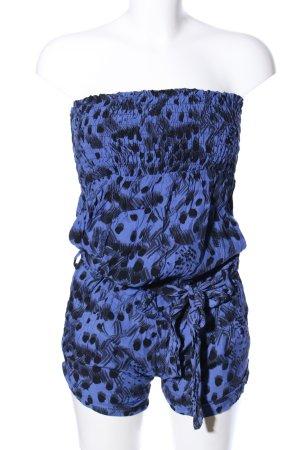 Stradivarius Jumpsuit blau-schwarz abstraktes Muster Casual-Look
