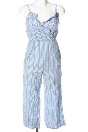 Stradivarius Jumpsuit blau-weiß Streifenmuster Casual-Look