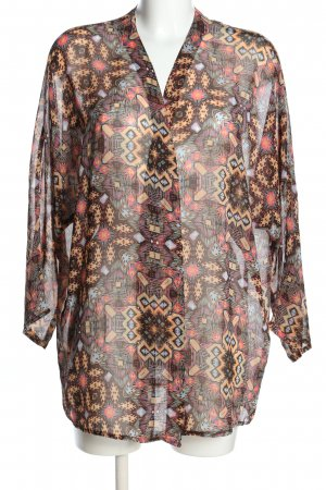 Stradivarius Kimono Blouse brown-nude allover print business style
