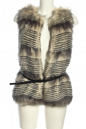 Stradivarius Fake Fur Vest light grey-natural white striped pattern