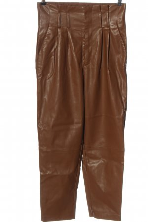 Stradivarius Faux Leather Trousers brown casual look