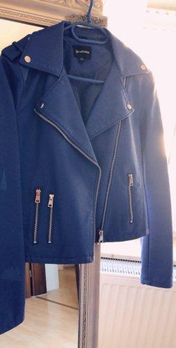 Stradivarius Chaqueta de cuero de imitación azul