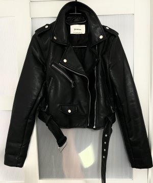 Stradivarius Faux Leather Jacket black-silver-colored