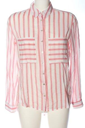 Stradivarius Langarmhemd weiß-pink Streifenmuster Casual-Look
