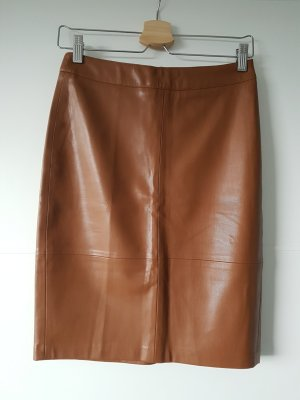 Stradivarius Faux Leather Skirt gold-colored-cognac-coloured