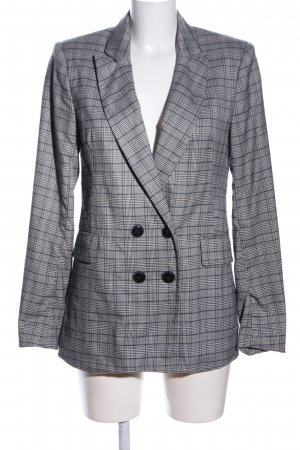 Stradivarius Long-Blazer hellgrau-schwarz Karomuster Business-Look