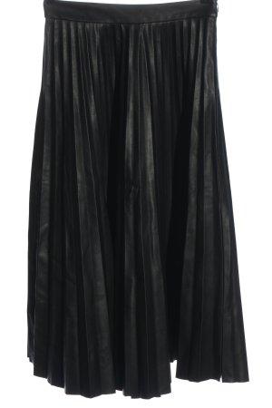 Stradivarius Falda midi negro elegante