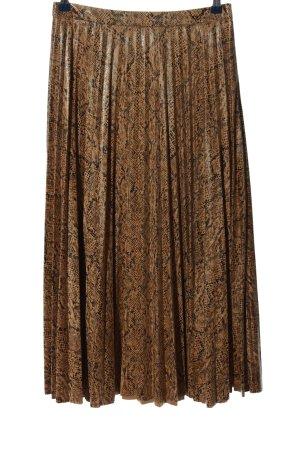 Stradivarius Spódnica midi brązowy-czarny Na całej powierzchni W stylu casual