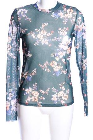 Stradivarius Netzshirt Blumenmuster Casual-Look