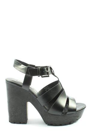 Stradivarius Plateau-Sandaletten schwarz Elegant