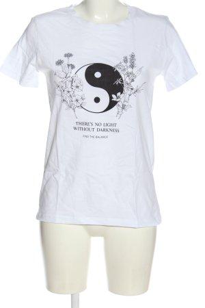 Stradivarius Print-Shirt weiß-schwarz Motivdruck Casual-Look