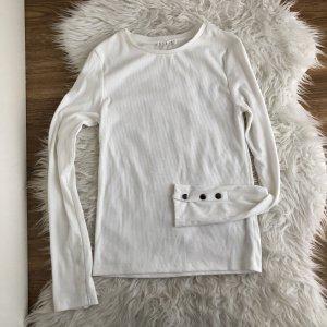 STRADIVARIUS Shirt Langarm Weiß Gr. XS S 34 36 Gerippt Neu