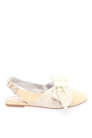 Stradivarius Slingback Ballerinas cream-white striped pattern casual look