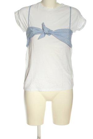 Stradivarius Camiseta blanco-azul estampado a rayas look casual