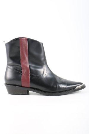 Stradivarius Western-Stiefeletten schwarz-rot Casual-Look