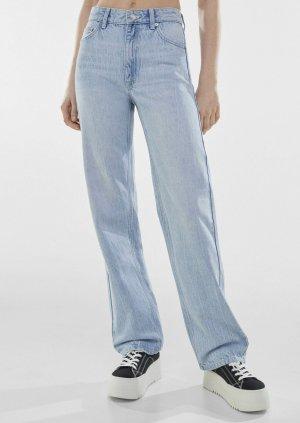 Bershka Jeansy z prostymi nogawkami błękitny