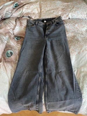 H&M Jeansy z prostymi nogawkami ciemnoniebieski-szary niebieski