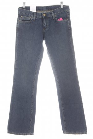 Straight-Leg Jeans dunkelblau-weiß Casual-Look