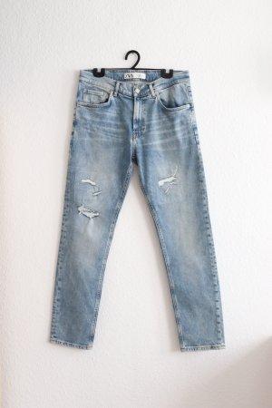 Straight Leg Jeans von Zara im Used Destroyed Look Größe 40 42