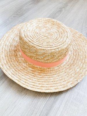 Cappello di paglia crema-rosa chiaro