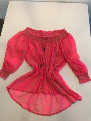 H&M Koszula typu carmen różowy neonowy-beżowy