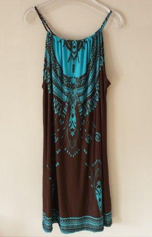 Vestito da spiaggia marrone scuro-turchese