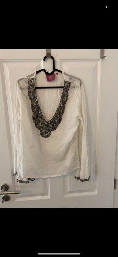 Velvet Camicetta a maniche lunghe bianco-grigio