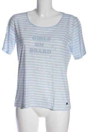 Strandfein T-Shirt blau-weiß grafisches Muster Casual-Look
