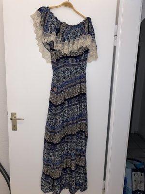 BSB Collection Robe épaules nues blanc-bleu foncé