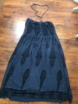 Robe dos-nu noir-bleu acier