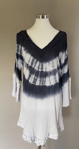 Beach Dress white-dark blue