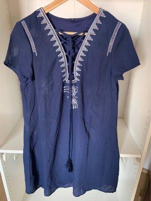 Vestido playero azul-azul acero