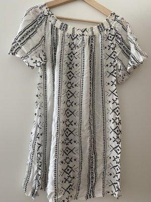 New Look Beach Dress white-dark blue viscose