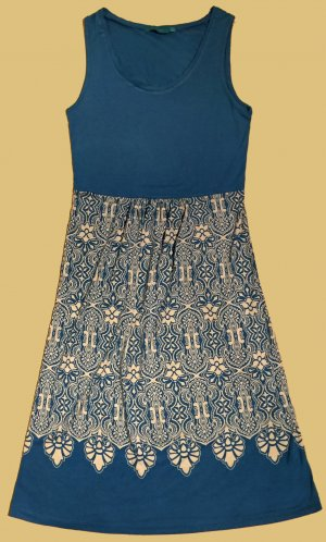 Strandkleid mit Printmuster, an der Hüfte mit Gummizug, Gr. 36
