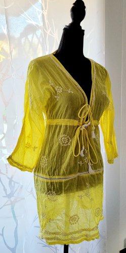 Samaná Vestido playero blanco-amarillo Algodón