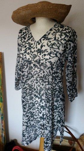 Robe tunique vert foncé-blanc