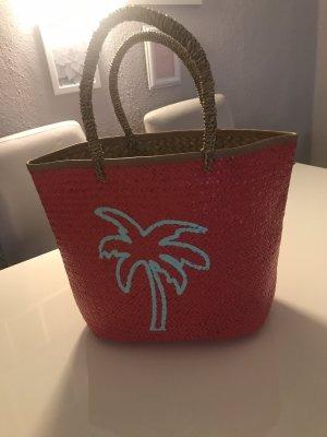 Bolso tipo cesta rojo frambuesa-turquesa