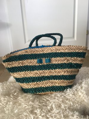 Bolso tipo cesta azul acero