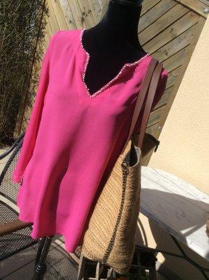 Strandtunika mit Perlendetails in pink Gr. 36