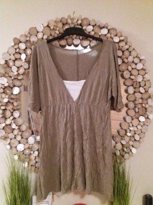 Camicia a tunica marrone-grigio-bianco sporco