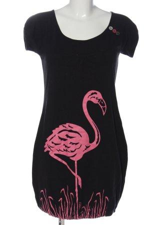 Strange Kurzarmkleid schwarz-pink Motivdruck Casual-Look