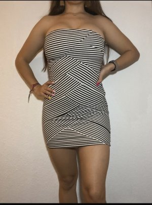 Strapless Weiß-Schwarz Kleid